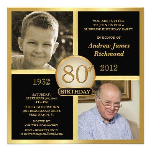 80th Birthday Invitation Ideas