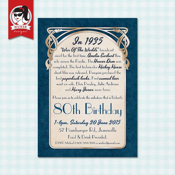 80th Birthday Invitations For Men