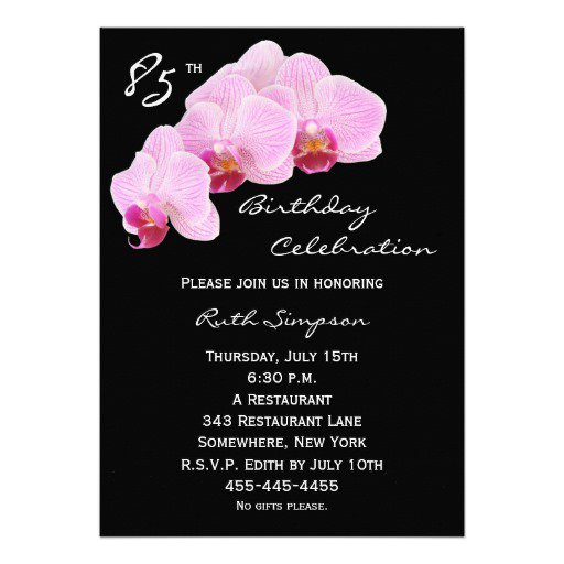 85th Birthday Party Invitation Wording
