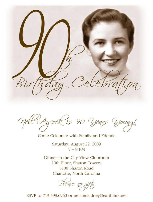 90th birthday invitation examples