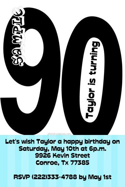 90th Birthday Invitation Text