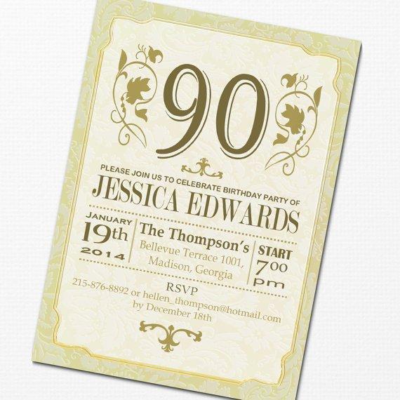 90th Birthday Invitations Printable