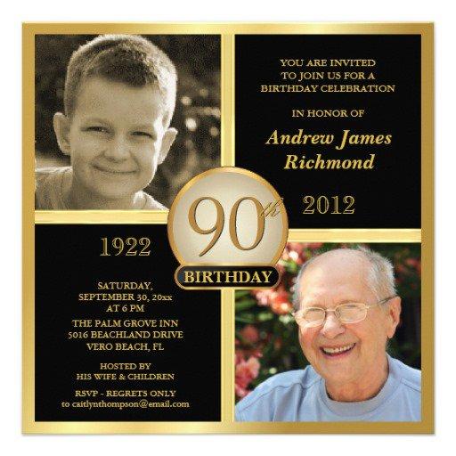90th Birthday Personalized Invitations