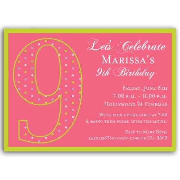 9th Birthday Invitation Sayings