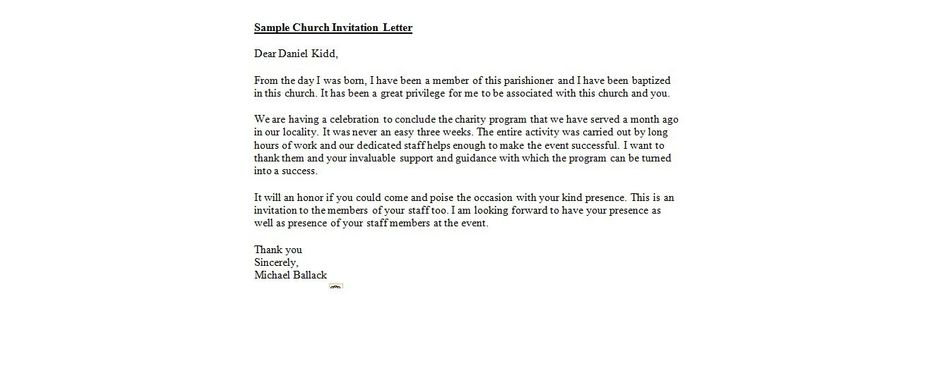 A Church Invitation Letter Of Acceptance