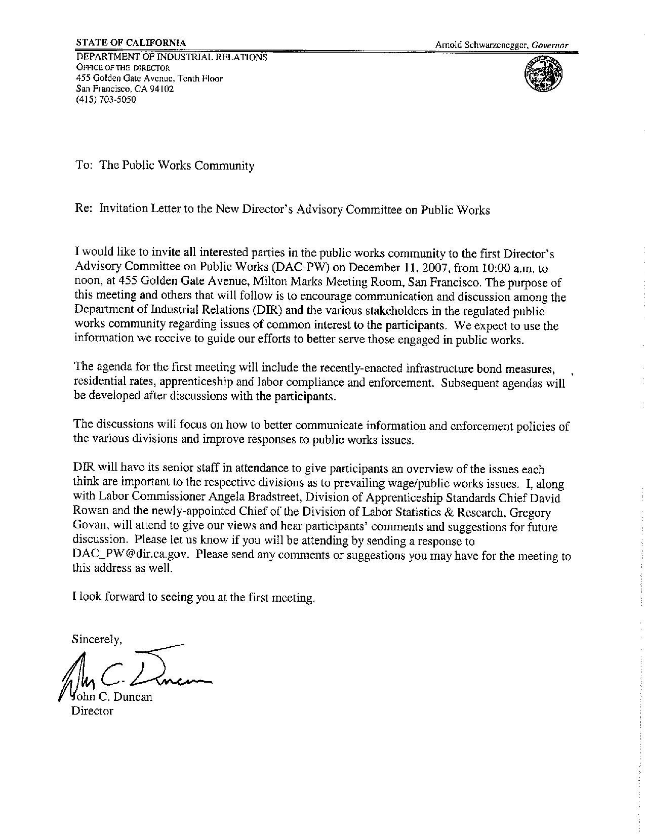 Advisory Committee Invitation Letter