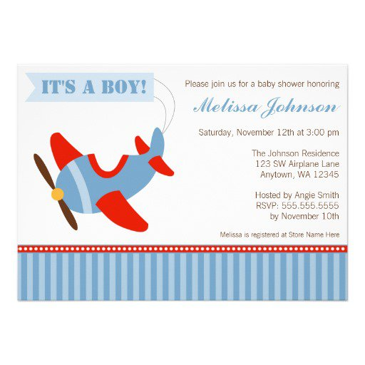 Airplane Themed Baby Shower Invitations