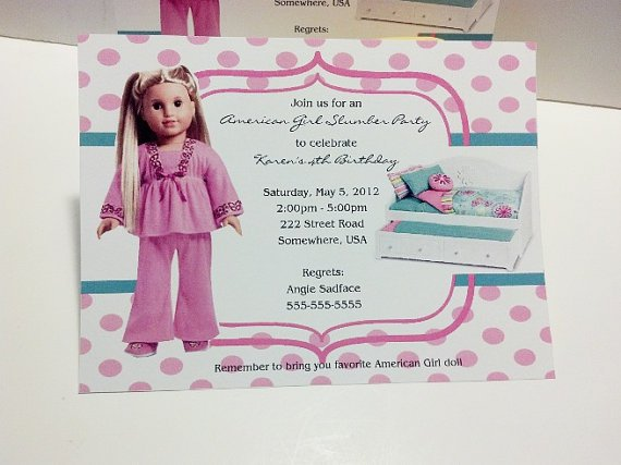 American Girl Tea Party Invitations – Doll Party Invitations