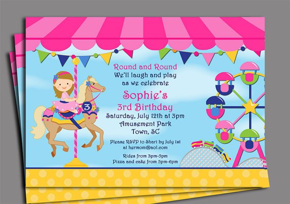Amusement Park Birthday Invitations Free