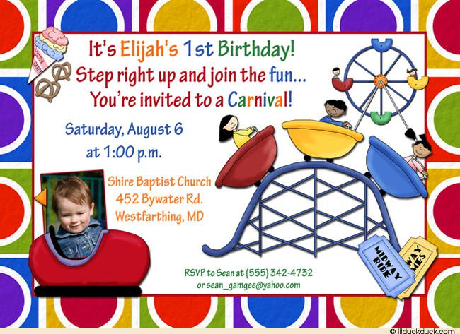 Amusement Park Birthday Party Invitation Wording