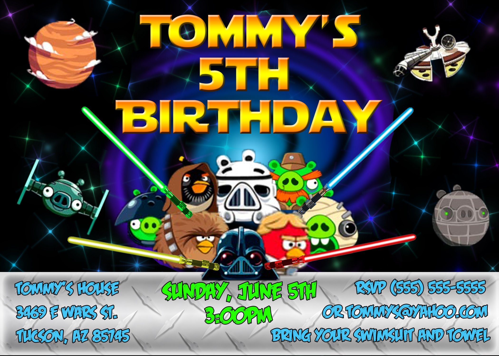 Angry Birds Birthday Invitations Personalized SaveEnlarge Star Wars