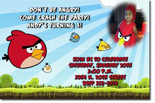 Angry Birds Birthday Invitations Personalized