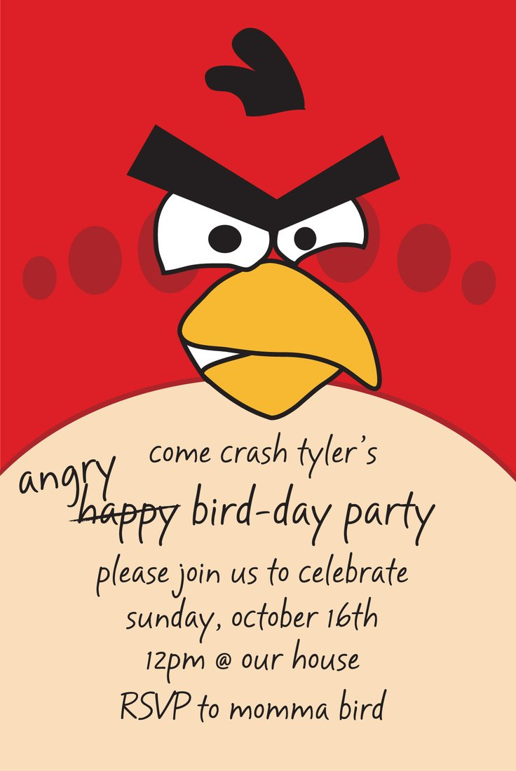 Angry Birds Birthday Party Invitation Wording