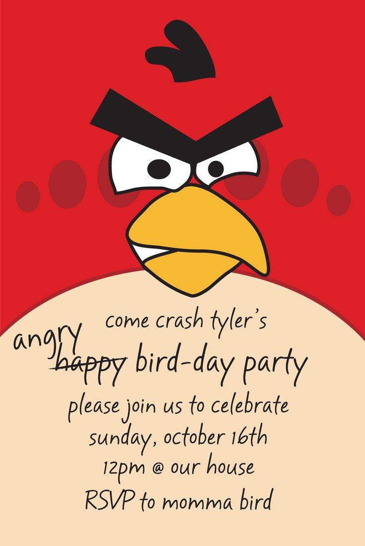 Angry Birds Birthday Invitation Wording