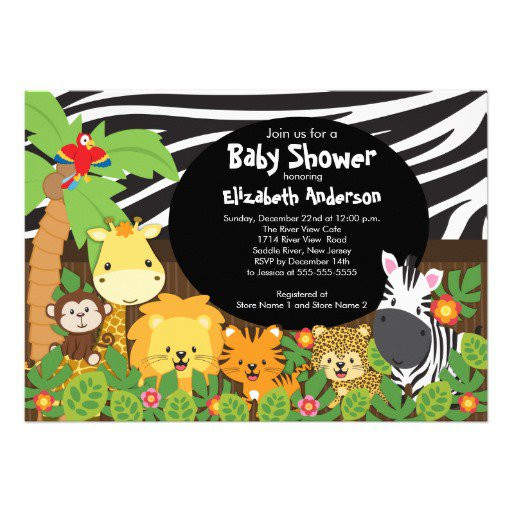 Animal Safari Baby Shower Invitations