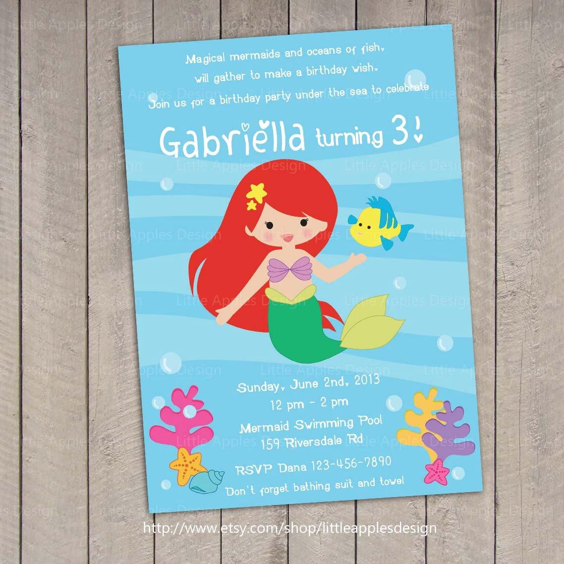 Ariel Little Mermaid Invitations Free