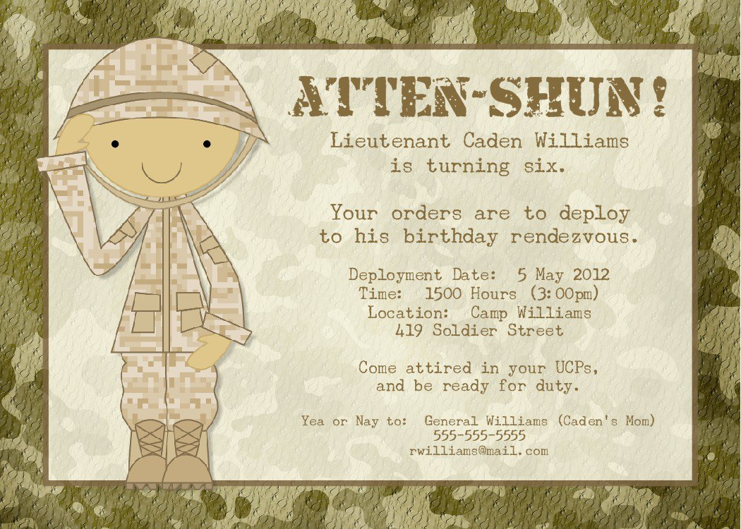 Army Birthday Invitations Wording