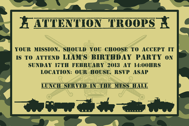 Army Birthday Party Invitations