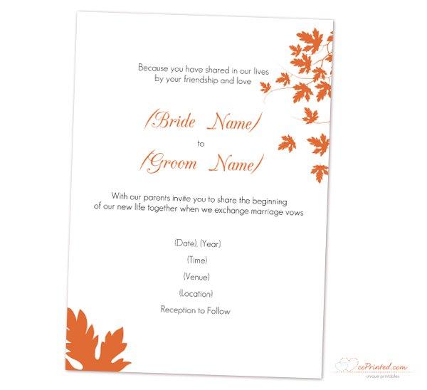 Autumn Wedding Invitation Templates Free