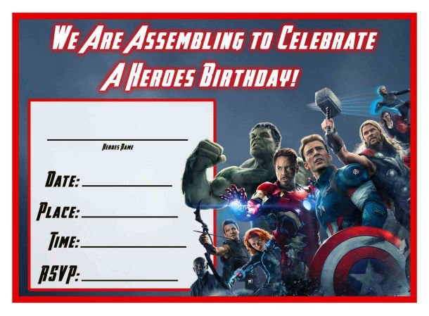 Avengers Birthday Invitation Templates Free
