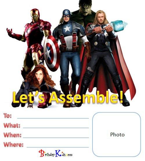 Avengers Birthday Party Invitations Templates