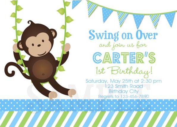 Baby Boy Monkey Birthday Invitations