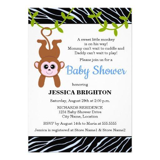 Baby Boy Monkey Invitations