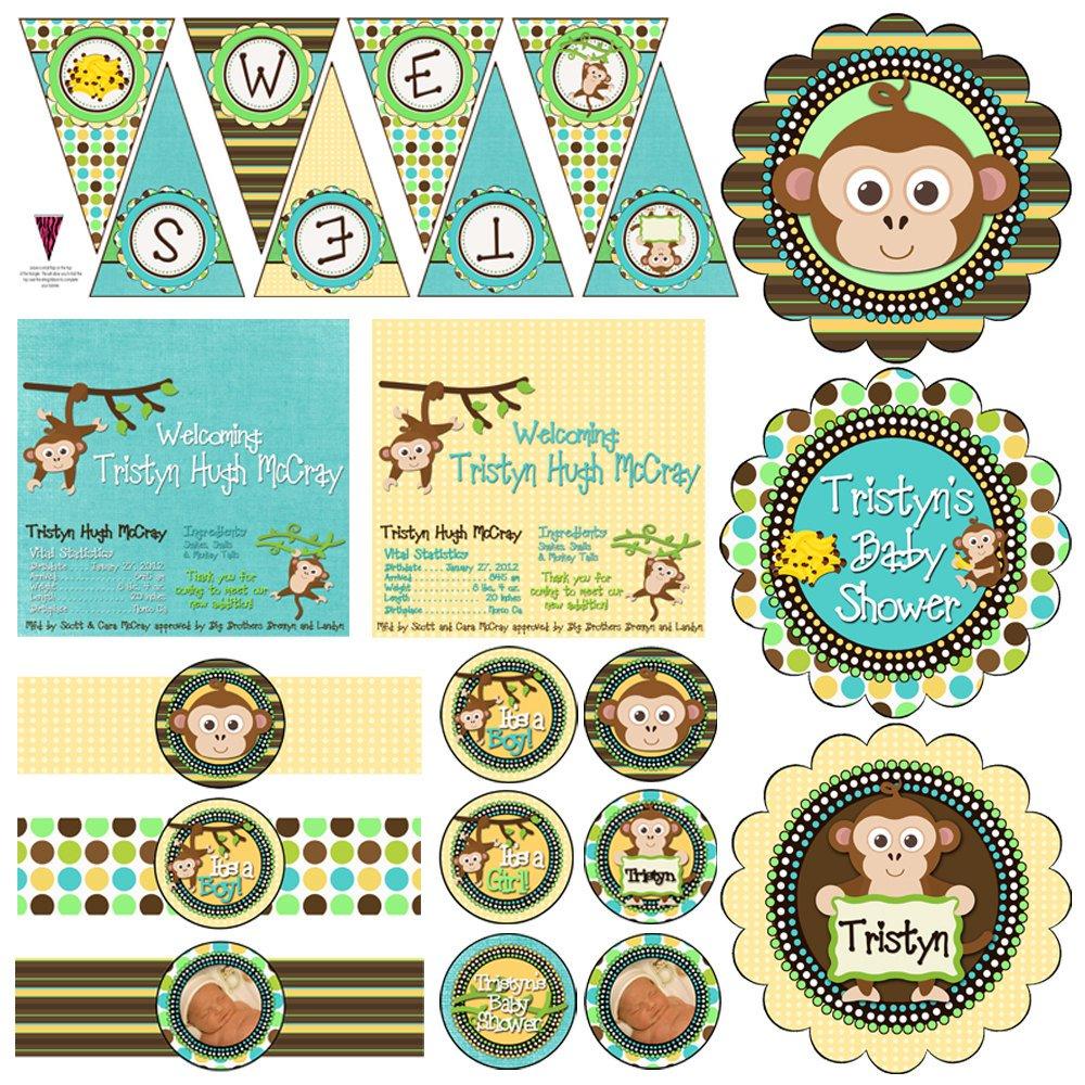 Baby Boy Monkey Shower Invitations