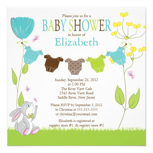 Baby Boy Shower Invitations Clothesline
