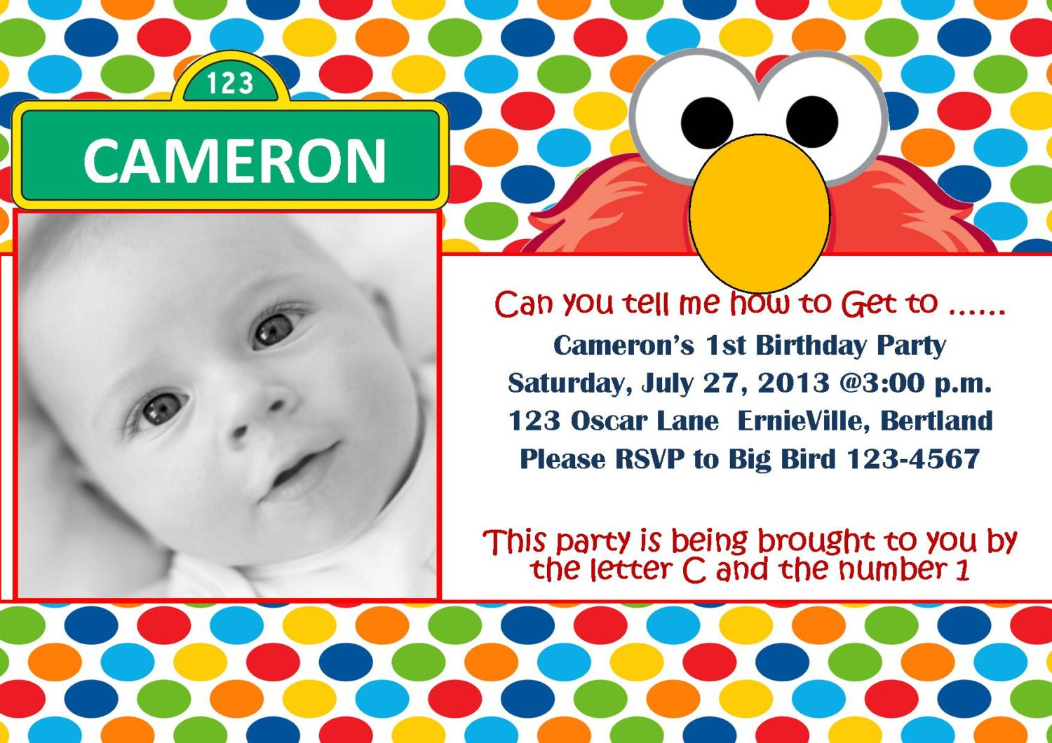 Baby Elmo 1st Birthday Invitations