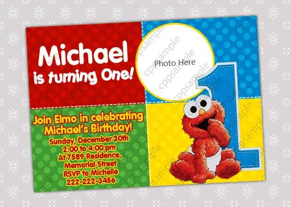 Baby Elmo Birthday Invitations