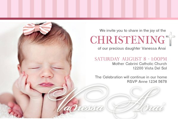Baby Girl Christening Invitations
