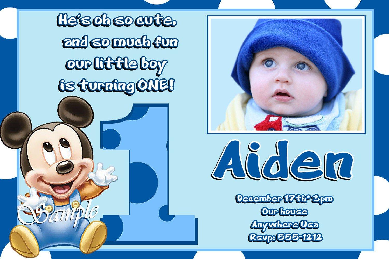 Baby Mickey 1st Birthday Invitations