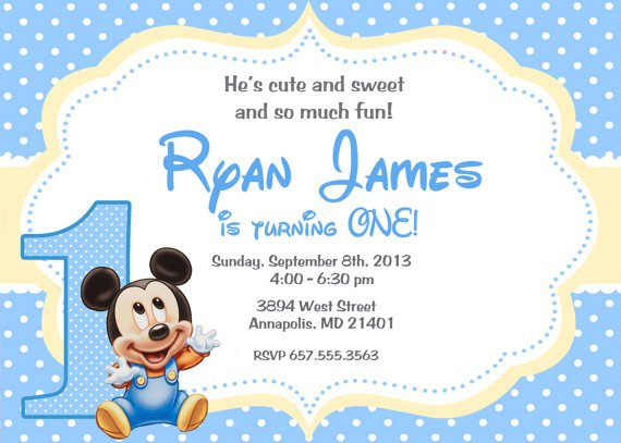 Baby Mickey Invitation Template