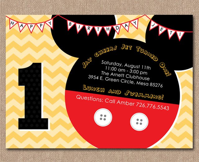 Baby Mickey Invitation Templates