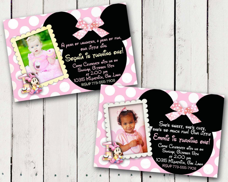 Baby Minnie 1st Birthday Invitations