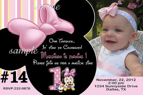 Baby Minnie Mouse Birthday Invitations