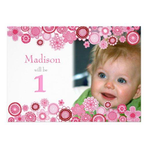 Baby Pink First Birthday Invitations
