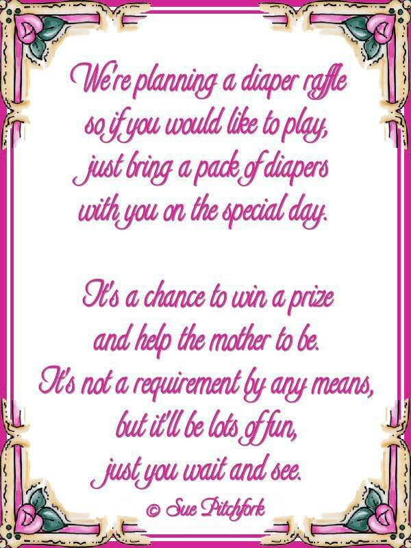 Baby Shower Invitation Inserts For Diapers And Wipes Raffle