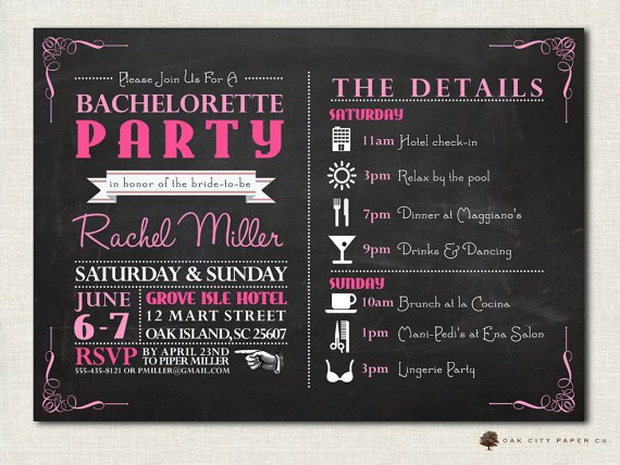 Bachelorette Party Invitations Downloadable