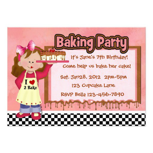 Baking Girl Birthday Party Invitations