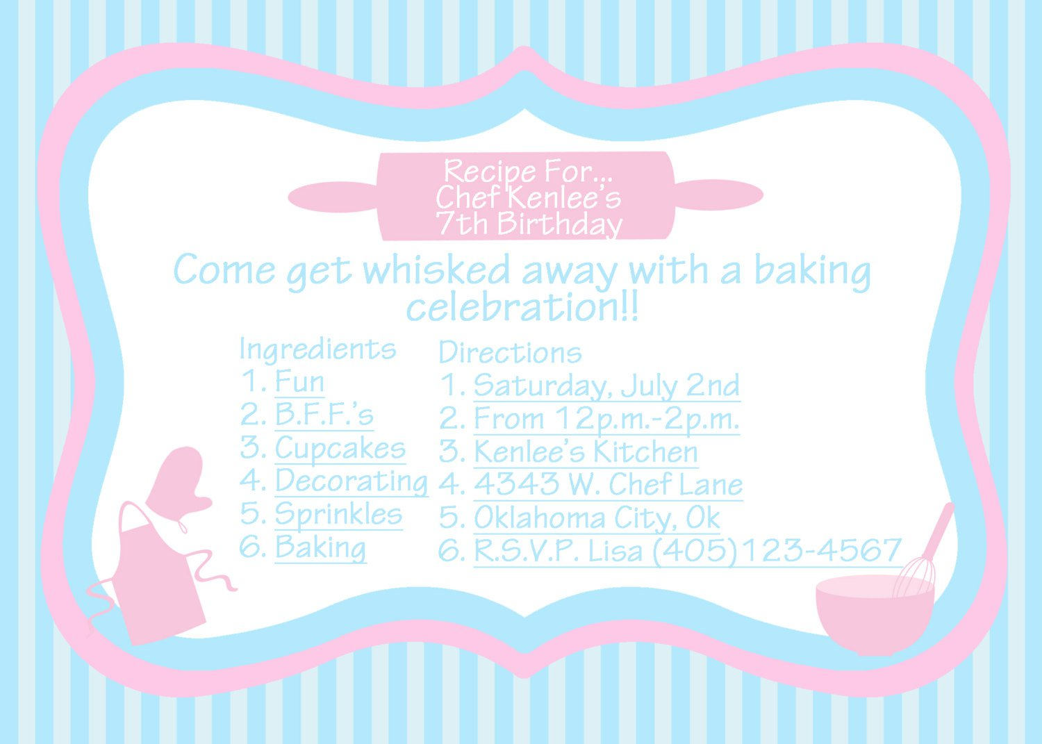 Baking Party Invitations Wording