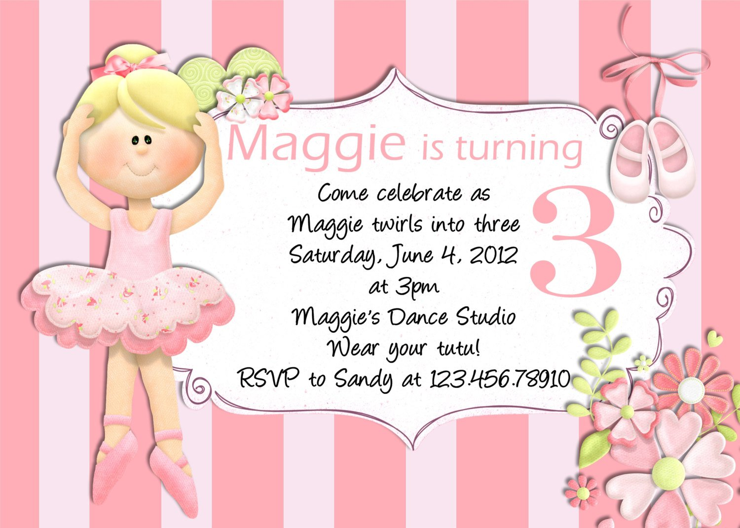 Ballerina Birthday Invitations Free