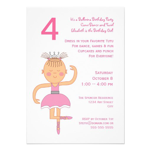 Ballerina Birthday Invitations Wording