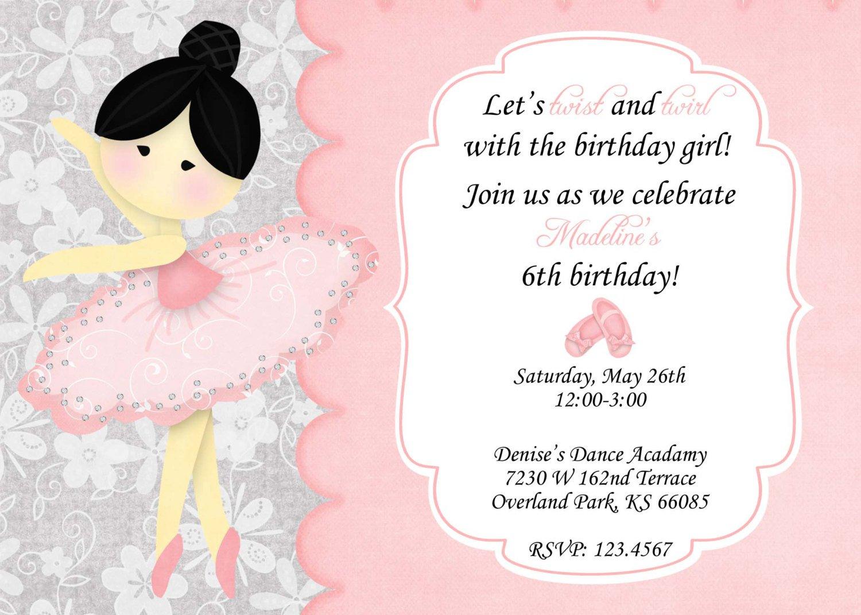 Ballerina Birthday Party Invitation Wording