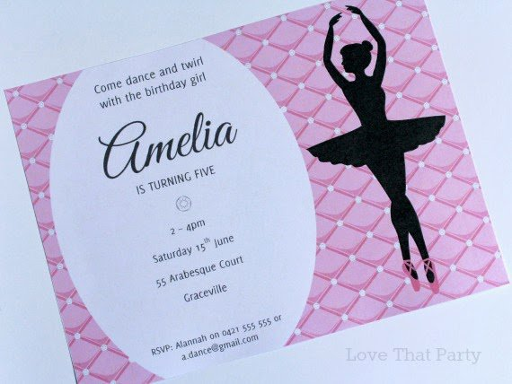 Ballerina Party Invitations Printable