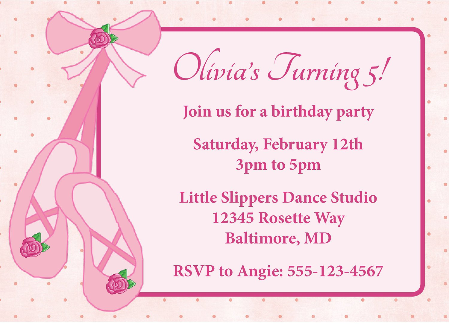 Ballerina Birthday Party Invitation Wording
