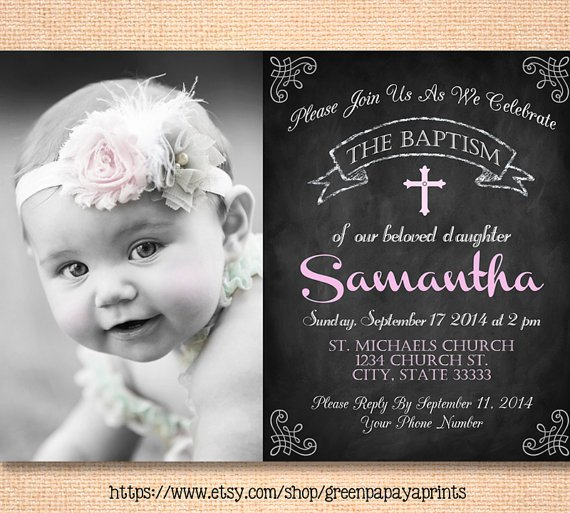 Baptism Invitation With Godparents Names