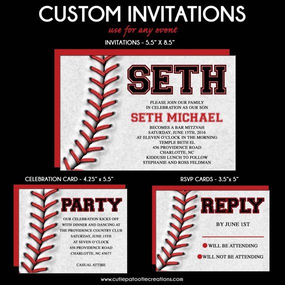 Baseball Bar Mitzvah Invitations