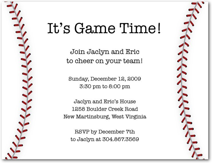 Baseball Party Invitation Wording